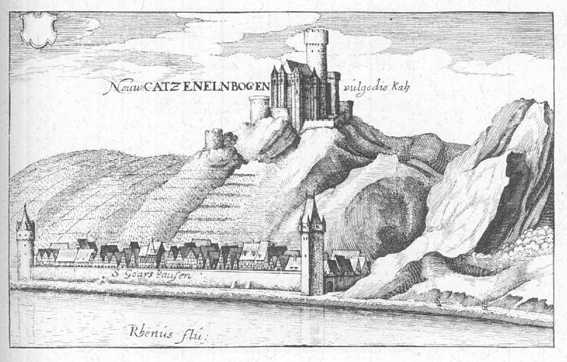 Sankt Goarshausen und Burg Katzenelnbogen, Stich oder Radierung von Matthäus Merian aus dem Jahr 1655