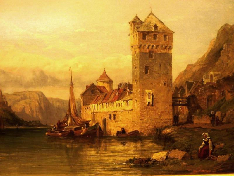 George Clarkson Stanfield: Blick von St. Goarshausen und St. Goar und Burg Rheinfels, 1872