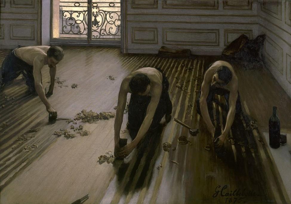 Gemälde von Gustave Caillebotte zeigt Handwerker beim Abziehen eines Dielenbodens