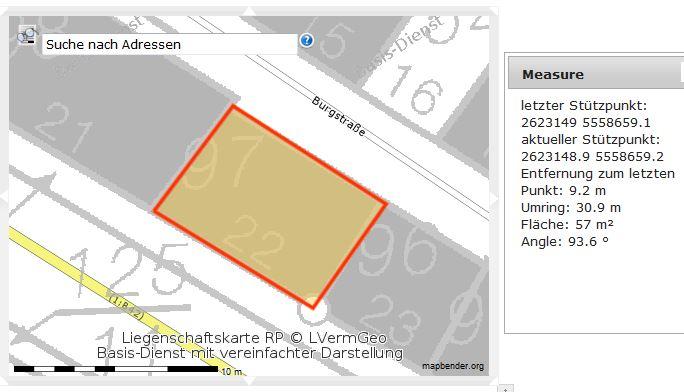 Lageplan des Grundstücks Rheinstraße 22, Sankt Goarshausen. Quelle: geoportal.rlp.de