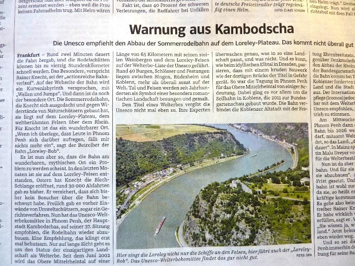Zeitungsartikel in der Süddeutschen Zeitung über die Sommerrodelbahn auf der Loreley, die den Welterbe-Status gefährden könnte.