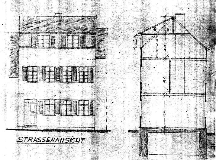 Straßenansicht und Querschnitt des Hauses aus dem Jahr 1947