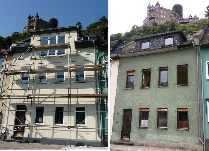 zwei Fotos Rheinstraße34 - -alt und neu