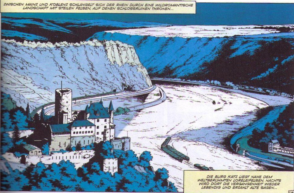 Burg Katz und Loreley, Zeichnung von Roger Leloup